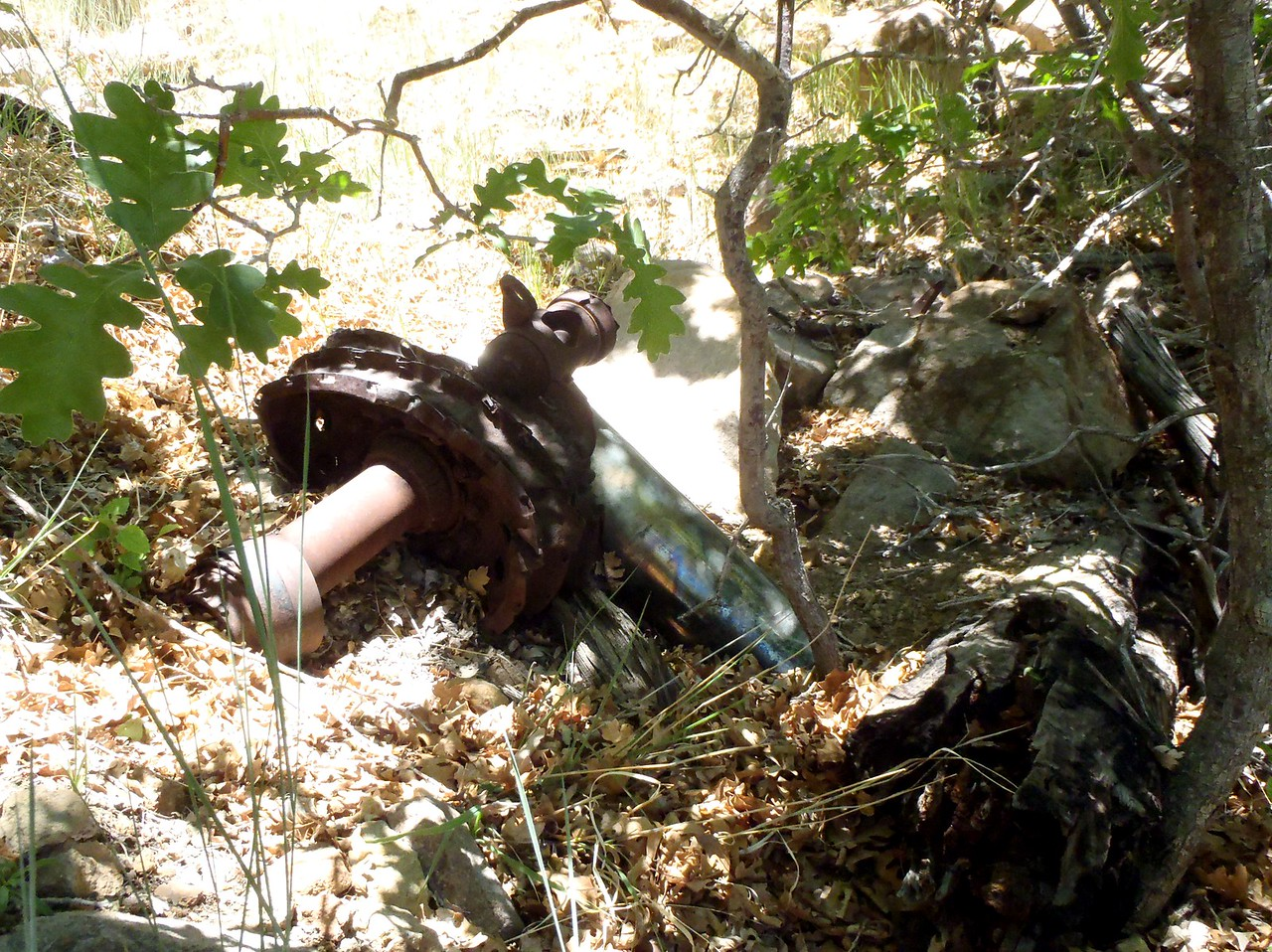 The other main landing gear was located partially buried in a ravine close by.