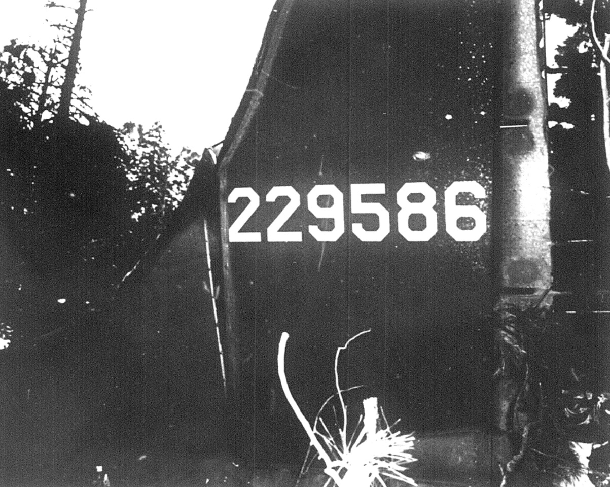 CRASH SITE - MARCH 1943<br /> <br /> After the fires subsided and the smoke lifted, the identification number on the tail left no doubt this was the missing B-17.