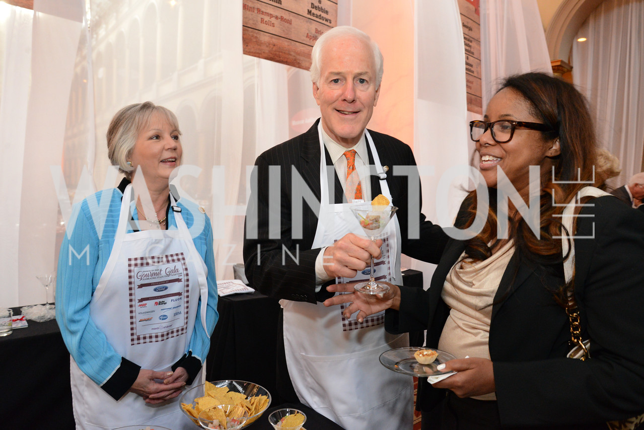 Sandy Cornyn, Senator John Cornyn (R-TX) and Sandra Lee. March of Dimes Gourmet Gala, National Building Museum. May 7, 2014 Photo by Neshan H. Naltchayan