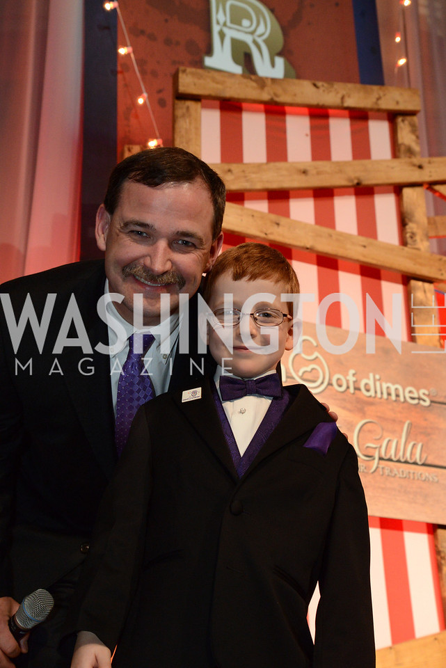 Dave Lamothe and son, Aidan Lamothe, the 2014 National Ambassador for March of Dimes. March of Dimes Gourmet Gala, National Building Museum. May 7, 2014 Photo by Neshan H. Naltchayan
