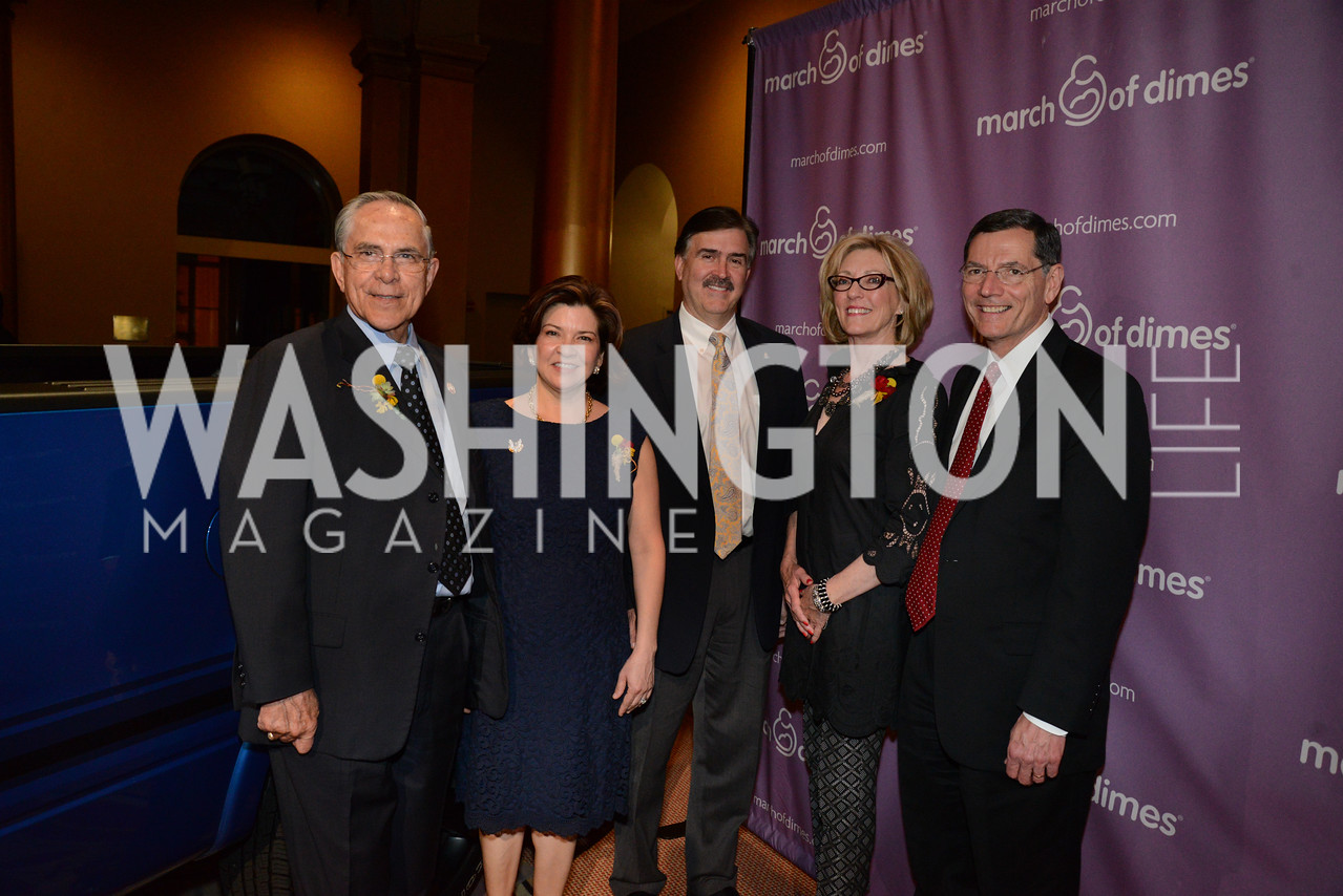 Rep. Ruben Hinojosa, Mrs. Marty Hinojosa, Curt Magleby of Ford Motor Co, Mrs. Bobbi Barrasso and Senator John Barrasso (R-WY). March of Dimes Gourmet Gala, National Building Museum. May 7, 2014. Photo by Neshan H. Naltchayan