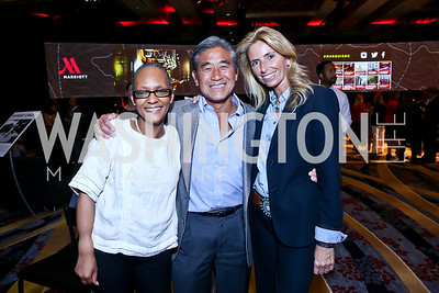 TJ Monoyez, Dennis Yee, Maria Trabocchi. Photo by Tony Powell. Marriott Marquis Grand Opening. June 10, 2014