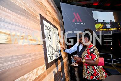 Aniekan Udofia, Risikat Okedeyi. Photo by Tony Powell. Marriott Marquis Grand Opening. June 10, 2014