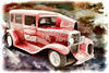 1929 Chevrolet Classic Car Painting Automobile in Color  3125.02