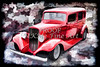 1933 Chevrolet Chevy Sedan Painting of Classic Car in Color Red  3162.02