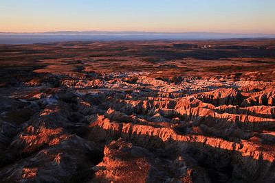 Badland topography at sunset