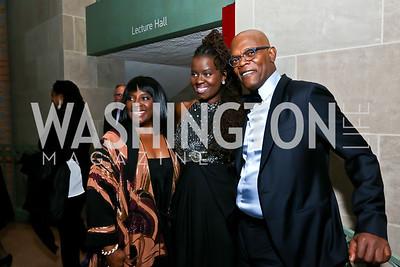 LaTanya Richardson, Somi, Samuel L. Jackson. Photo by Tony Powell. Nat'l. Museum of African Art's 50th Anniversary Gala. November 7, 2014