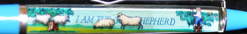 Back:  The Lord is My Shepard <br /> Front:  I Am the Good Shepherd <br /> Floater: sheep<br /> Style: Classic<br /> Color: light blue<br /> Cost: $5.50<br /> Category: Music/Religion/Seasonal
