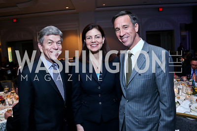 Sen. Roy Blunt, Sen. Kelly Ayotte, Arne Sorenson. Photo by Tony Powell. N Street Village 40th anniversary Gala. Ritz Carlton. April 9, 2014