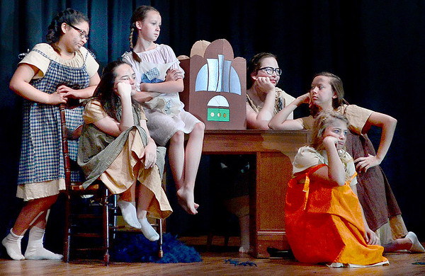 "Kevin Harvison | Staff photo<br /> Pictured from left in the Frink Chambers musical production of Annie Jr., based on ""Little Orphan Annie"" by permission of the Tribune Media Service Inc. A production from the Broadway Junior Collection is Zara Garner as Kate, Ravyn Surginer as Duffy, Grayci Joslin as Molly, Lainey Hightower as Pepper, corey Alberson as July and Cadence Simmons as Tessie."