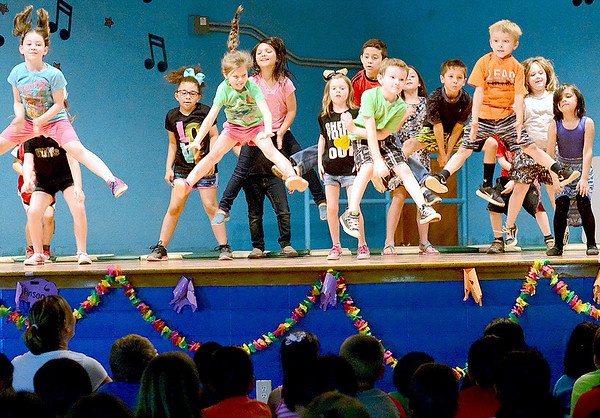 Staff photo by Kevin Harvison  <br /> Students perform a dance during the Emerson Elementary school student talent show.