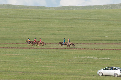 A Naadam horse race seen en route to Hustai Ger Camp.
