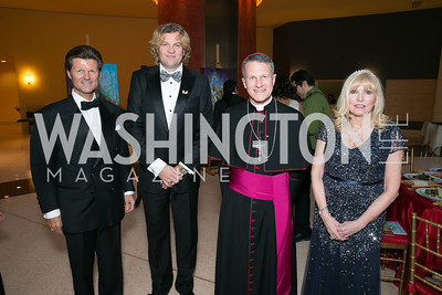 Johan Schotte, Prince Lorenzo de' Medici, Archbishop Timothy Broglio, Christina Cox. Photo by Alfredo Flores. National Museum of Catholic Art and Library's 3rd Annual Roman Gala La Primavera. Embassy of Italy. April 2, 2014