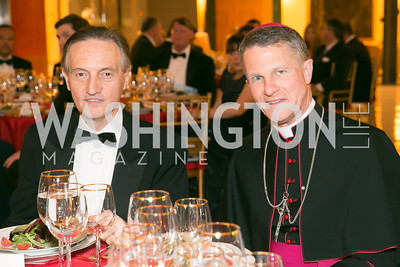 Ambassador Claudio Bisogniero, Archbishop Timothy Broglio. Photo by Alfredo Flores. National Museum of Catholic Art and Library's 3rd Annual Roman Gala La Primavera. Embassy of Italy. April 2, 2014