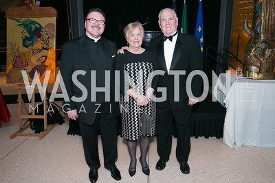 Anthony Pogorelc, Kathy Flynn, Raymond Flynn. Photo by Alfredo Flores. National Museum of Catholic Art and Library's 3rd Annual Roman Gala La Primavera. Embassy of Italy. April 2, 2014