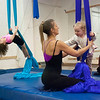 """Kayla Rice/Reformer<br /> Director of Youth Programming Erin Lovett-Sherman helps children ages 1.5-4 use aerial fabrics at New England Center for Circus Arts' """"Tots"""" class at Cotton Mill Hill on January 20th."""