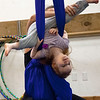 """Kayla Rice/Reformer<br /> Director of Youth Programming Erin Lovett-Sherman helps Lightning Knudson, 2 1/2, use fabrics during the New England Center for Circus Arts' """"Tots"""" class at Cotton Mill Hill on January 20th."""