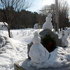 Kayla Rice/Reformer<br /> Snow people and animals cover the common in Newfane.