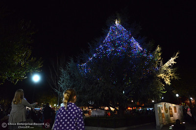 Justice Creamer, 12, left, and Avery Wright, 5, watch as the 62-foot tall Blue Aspen lights up with 8,000 electric lights Friday, Dec. 4, 2015, at the annual Christmas Tree Lighting in Chico, California. (Dan Reidel -- Enterprise-Record)