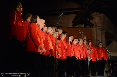 The Sounds of the Valley Chorus sings Christmas carols before the 62-foot tall Blue Aspen is lit with 8,000 electric lights Friday, Dec. 4, 2015, at the annual Christmas Tree Lighting in Chico, California. (Dan Reidel -- Enterprise-Record)