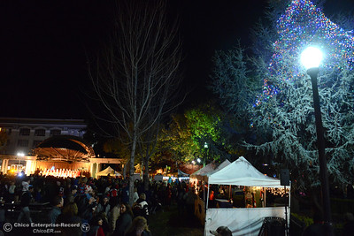 The 62-foot tall Blue Aspen is lit with 8,000 electric lights Friday, Dec. 4, 2015, at the annual Christmas Tree Lighting in Chico, California. (Dan Reidel -- Enterprise-Record)