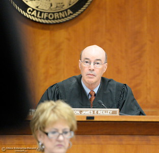 Judge James Reilley presides as Former Paradise Police Officer Patrick Feaster appears in Butte County Superior Court Friday April 22, 2016. Feaster, charged with manslaughter in a deadly police shooting, has waived his right to a preliminary hearing and will be rearraigned May 11. (Bill Husa -- Enterprise-Record)