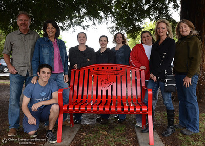 Teachers of Brandon, a first-grade student who died from cancer, pose for a picture on the bench in honor of the first grader Friday, April 22, 2016, at Durham School in Durham, California. (Dan Reidel -- Enterprise-Record)
