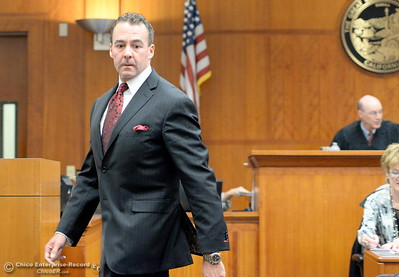 Attorney for Patrick Feaster, Paul Goyette is seen in Butte County Superior Court Friday. Former Paradise Police Officer Patrick Feaster appears in Butte County Superior Court Friday April 22, 2016. Feaster, charged with manslaughter in a deadly police shooting, has waived his right to a preliminary hearing and will be rearraigned May 11. (Bill Husa -- Enterprise-Record)