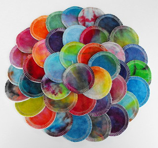 Surprise Set of TEN Hand Dyed Reusable Cotton Balls/Cosmetic Pads