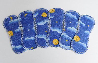 """ONE 7inch TinyLiners - cotton flannel - """"moon & stars"""""""