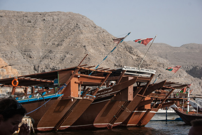 The Omani boats in harbor.