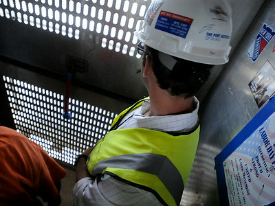 Looking out from a construction elevator One World Trade Center in September 2013. (Photo by Jackie Schear)