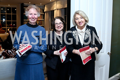 Lee Gough, Francesca McDonnell, Carlolee Mills. Photo by Tony Powell. PEN Faulkner Supper with Amy Tan and Deborah Tannen. Pillsbury residence. March 2, 2014
