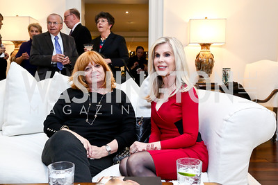 Sue Goldman, Anne Gaybrick. Photo by Tony Powell. PEN Faulkner Supper with Amy Tan and Deborah Tannen. Pillsbury residence. March 2, 2014