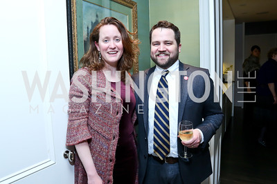 Pen Faulkner Executive Director Emma Snyder, Pen Faulkner Deputy Director Nate Brown. Photo by Tony Powell. PEN Faulkner Supper with Amy Tan and Deborah Tannen. Pillsbury residence. March 2, 2014