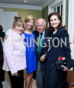 Annie Totah, Katherine Wood, Arnaud and Alexandra de Borchgrave. Photo by Tony Powell. PEN Faulkner Supper with Amy Tan and Deborah Tannen. Pillsbury residence. March 2, 2014