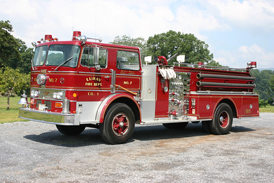 Engine 7 is the departments reserve engine and ceremonial piece, a 1969 Duplex R-6-71-CF/Oren, 1999 4-Guys rehab, 1000/500, sn- 2694.