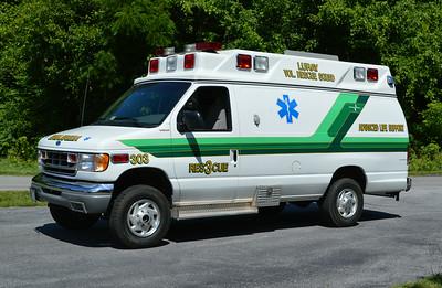 Ambulance 303 is a 1996 Ford/AEV.