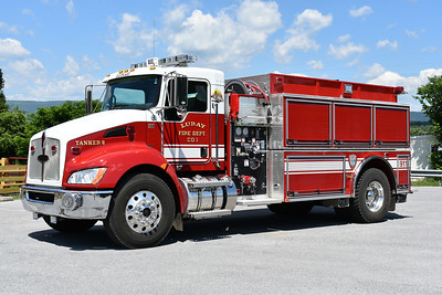 Tanker 8 from Luray, Virginia in Page County.  Tanker 8 is a 2015 Kenworth T370/Pierce equipped with a 500/1500.  Pierce job number 2819iTR-01.  This replaced a 1972 Chevrolet C60/Broadway Metals 300/1400.