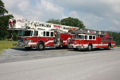 Luray's old and new ladder trucks.