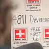 A free first aid clinic was set up under a homeowner's carport in one of the hardest hit areas in Columbia.