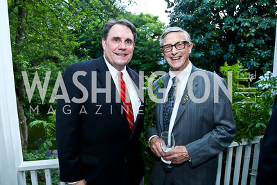 Andy McLeod, Robert Brent. Photo by Tony Powell. Newport Society Party. Prince Residence. May 13, 2014