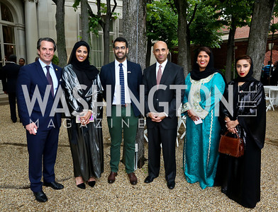 Stuart Holliday, Maitha Al-Mehairbi, Khalid Mezaina, UAE Amb. Yousef Al Otaiba, Noor Alsuwaidi, Zeinab Al Hashemi. Photo by Tony Powell. Past Forward Opening. Meridian. May 21, 2014