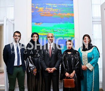 Khalid Mezaina, Maitha Al-Mehairbi, UAE Amb. Yousef Al-Otaiba, Zeinab Al Hashemi, Noor Alsuwaidi. Photo by Tony Powell. Past Forward Opening. Meridian. May 21, 2014