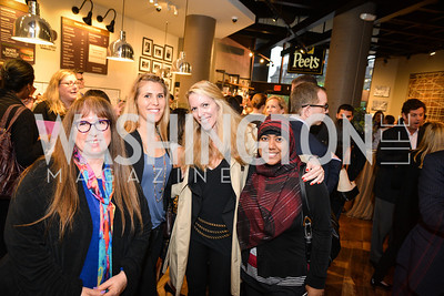 Diane Blagman, Morgan Beth, Jennifer Vinson, Rumana Ahmed, Peet's Coffee & Tea VIP Launch Party, Wednesday, April 30th, 2014, 1701 Pennsylvania Avenue NW.  Photo by Ben Droz.