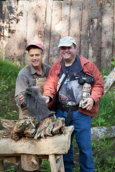 Gary and Steve Kroschel with baby porcupine at Kroschel Wildlife Center.