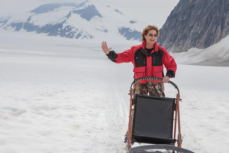 Dog sledding on Norris Glacier just outside of Juneau, Alaska.