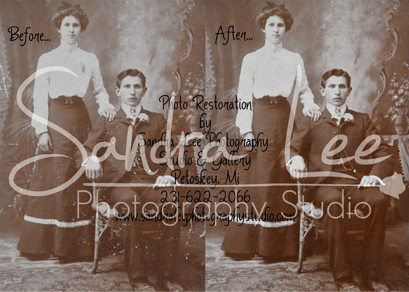 Restoring vintage photos.<br /> <br /> Sandra Lee Photography Studio & Gallery<br /> 318 E. Mitchell St<br /> Petoskey, Mi 49770<br /> 231-622-2066<br /> <br /> All restoration work is done with love and respect for your heirloom photos. I work one pixel at a time until I have repaired all scratches, tears, watermarks, or other damage. Your heirloom photo is restored and preserved for generations to come.