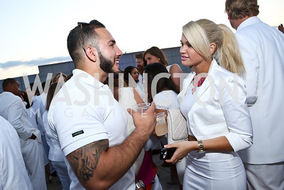Ardy Mesgarini, Brittany Athey. Photo by Tony Powell. Pierre Garçon's 2nd annual All-White Charity Event. Millenium building rooftop. June 5, 2014