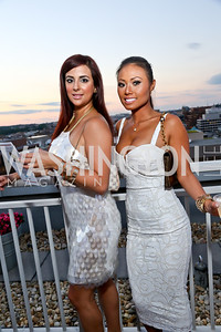 Christina Curbelo, Cindy Pham-Nguyen. Photo by Tony Powell. Pierre Garçon's 2nd annual All-White Charity Event. Millenium building rooftop. June 5, 2014